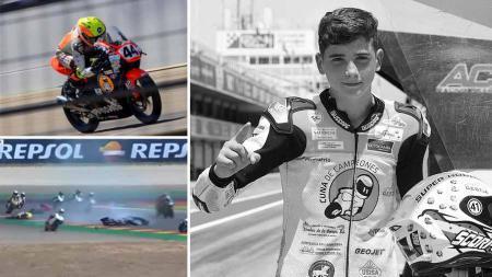Penghormatan diberikan kepada pembalap sepeda motor muda Hugo Millan yang telah meninggal pada usia 14 tahun setelah pembalap Spanyol itu mengalami kecelakaan. - INDOSPORT