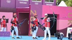 Tim panahan Indonesia di Olimpiade Tokyo 2020.