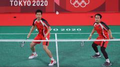 Indosport - Hendra Setiawan/Mohammad Ahsan di Olimpiade Tokyo 2020.