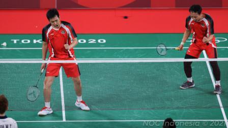 Ekspresi kemenangan Hendra Setiawan/Mohammad Ahsan usai sukses mengalahkan wakil Malaysia, Aaron Chia/Wooi Yik Soh.