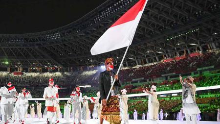 Kontingen Indonesia di upacara pembukaan Olimpiade Tokyo - INDOSPORT