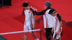 Indosport - Usai laga, Marcus Gideon mengaku mereka bermain di bawah tekanan karena statusnya sebagai unggulan pertama di Olimpiade Tokyo 2020.