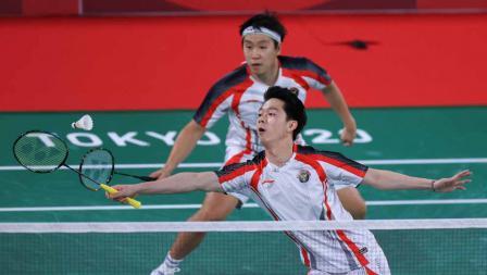 Ganda putra Indonesia, Marcus Fernaldi Gideon/Kevin Sanjaya Sukamuljo, harus tersingkir dari Olimpiade Tokyo 2020.