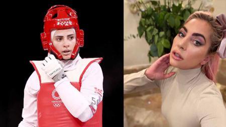 Atlet taekwondo Yordania, Julyana Al-Sadeq dan penyanyi Lady Gaga. - INDOSPORT