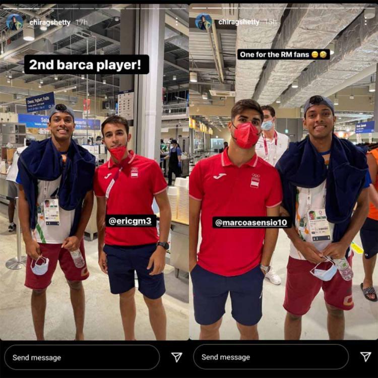 Pebulutankis India, Chirag Shetty ketemu Eric Garcia dan Marco Asensio. Copyright: Instagram@chiragshetty