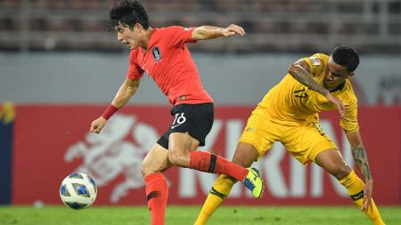Pemain Timnas Kore Selatan, Jeong Seung Won (kiri). - INDOSPORT