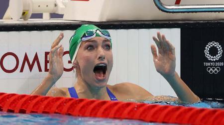 Perenang Afrika Selatan, Tatjana Schoenmaker, sukses memecahkan rekor dunia di Olimpiade Tokyo 2020. - INDOSPORT