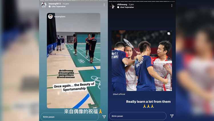 Lee Yang/Wang Chi-Lin beri pujian untuk Mohammad Ahsan/Hendra Setiawan Copyright: Instastory Lee Yang/Wang Chi-Lin
