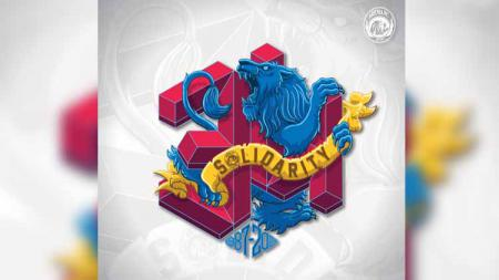 Logo dgn makna khusus diluncurkan Arema FC dalam memperingati HUT klub yang ke-34 tahun pada 11 Agustus 2021. - INDOSPORT