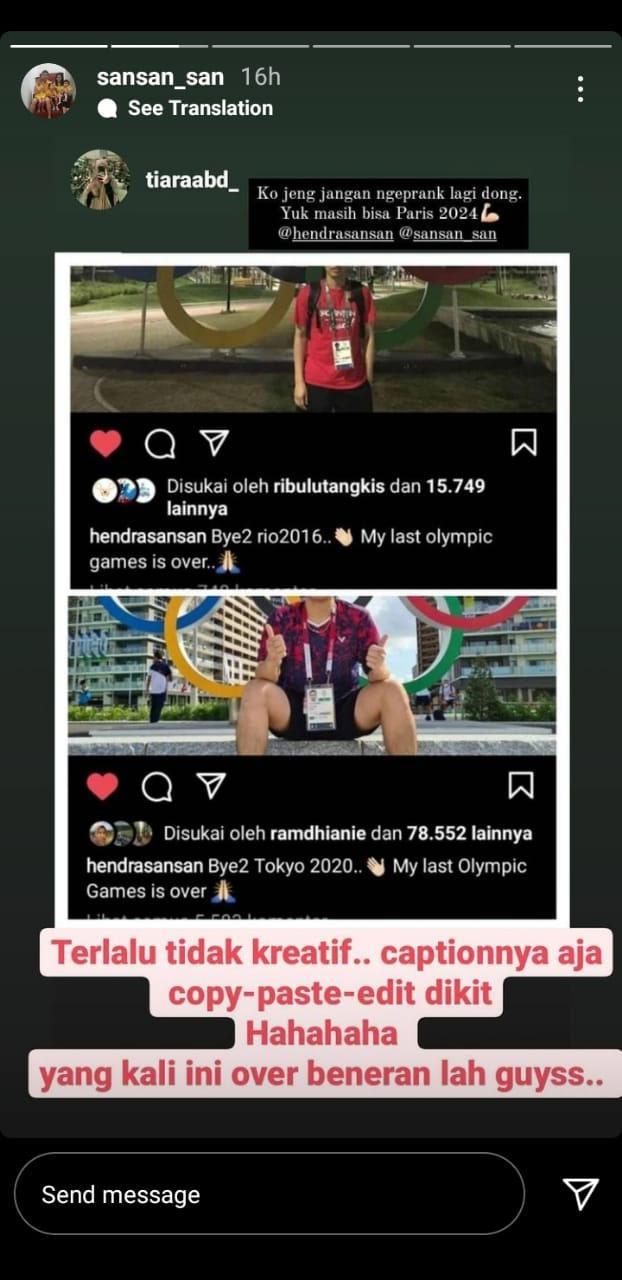 Jawaban Istri saat Hendra/Ahsan sebut Olimpiade Tokto terakhir. Copyright: Instastory@sansan_san
