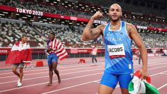 Indosport - Lamont Marcell Jacobs, pemenang medali emas di Olimpiade Tokyo.