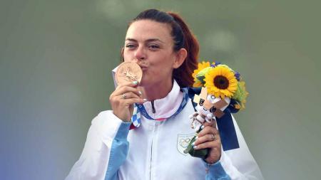 Alessandra Perilli, peraih perunggu menembak dari San Marino di Olimpiade Tokyo 2020. - INDOSPORT