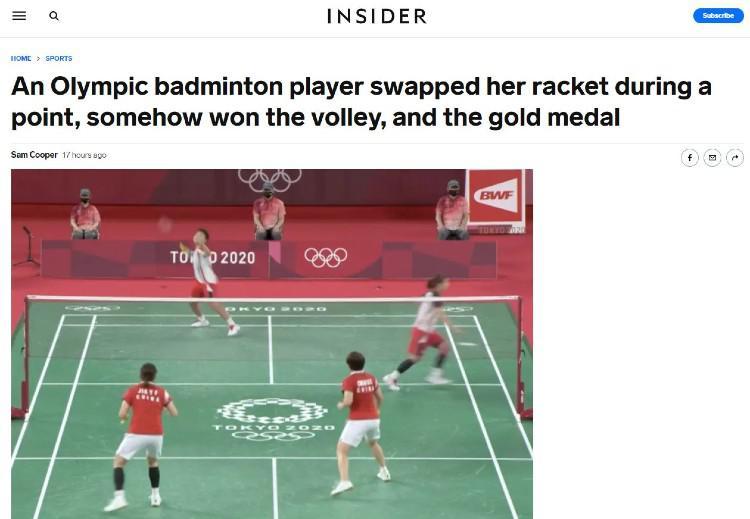 Media Insider menyoroti aksi tukar raket Greysia Polii. Copyright: Insider.com