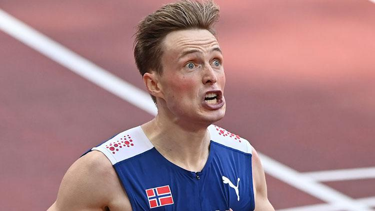 Pelari Norwegia di Olimpiade Tokyo 2020, Karsten Warholm. Copyright: Mustafa Yalcin/Anadolu Agency via Getty Images