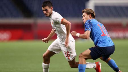 Aksi Pedri di laga Jepang vs Spanyol pada semifinal Olimpiade Tokyo 2020. - INDOSPORT