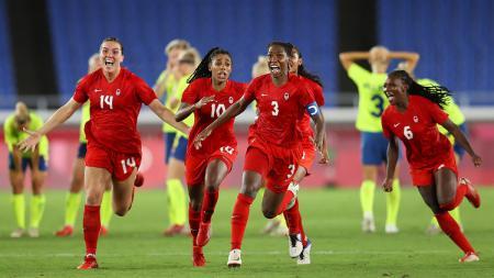 Kanada raih medali emas sepak bola putri Olimpiade Tokyo 2020 usai kalahkan Swedia di Partai Final. - INDOSPORT