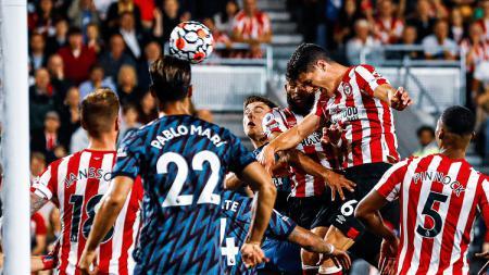 Gol Christian Norgaard di laga Liga Inggris Brentford vs Arsenal - INDOSPORT
