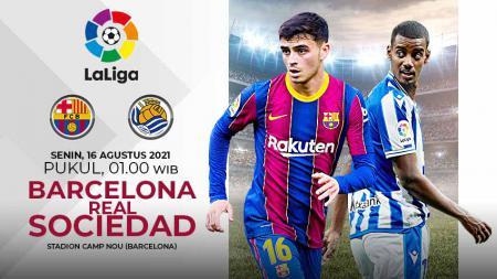 Berikut link live streaming pertandingan pekan perdana kompetisi LaLiga Spanyol musim 2021-2022 antara Barcelona vs Real Sociedad. - INDOSPORT