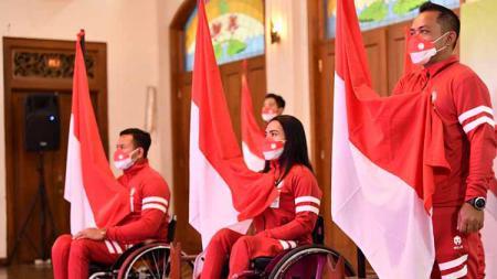 Suasana pelepasan kontingen Indonesia untuk Paralimpiade Tokyo 2020. - INDOSPORT