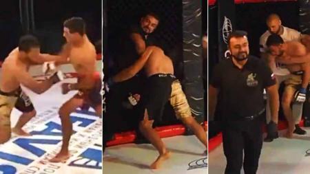 Seorang wasit MMA saat menyadarkan petarung MMA yang sudah KO dengan kuncian. - INDOSPORT