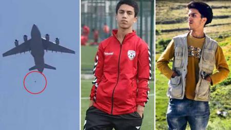Zaki Anwari, pemain Timnas Afghanistan tewas terjatuh dari roda pesawat AS saat kabur dari Taliban. - INDOSPORT