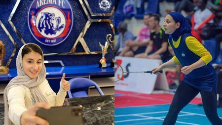 Pebulutangkis putri asal Iran sekaligus fans Arema, Samin Abedkhojasteh - INDOSPORT