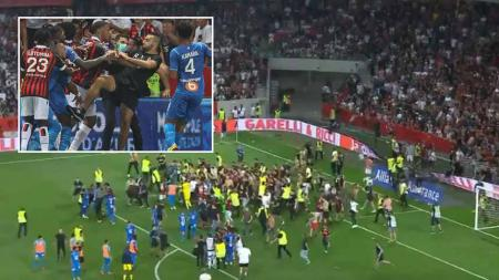 Kerusuhan pasca laga Nice vs Marseille. - INDOSPORT