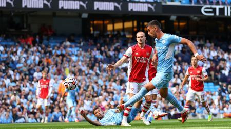 Manchester City berhasil meraih kemenangan 5-0 atas Arsenal di pekan ke-3 Liga Inggris, Sabtu (28/08/21). - INDOSPORT