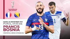 Indosport - Berikut prediksi pertandingan Kualifikasi Piala Dunia 2022 zona Eropa antara Timnas Prancis vs Bosnia-Herzegovina, Kamis (01/09/21) dini hari WIB.
