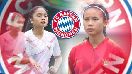 Shalika Aurelia Viandrisa (kanan) dan Ade Mustikiana Oktafiani (kiri), 2 pemain timnas Indonesia Putri yang menjalani trial di Bayern Munchen. - INDOSPORT
