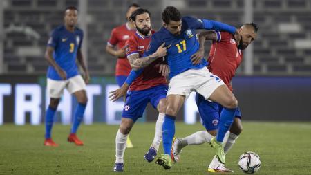 Pertandingan Kualifikasi Piala Dunia 2022 antara Chile vs Brasil, Kamis (2/9/21). - INDOSPORT