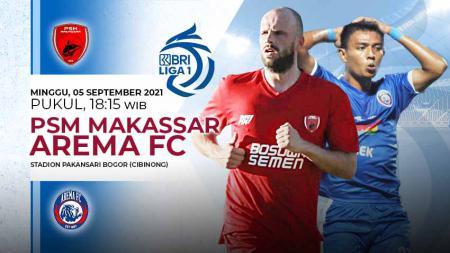 Laga Liga 1 2021/22 antara PSM Makassar vs Arema FC, Minggu (05/09/21). - INDOSPORT