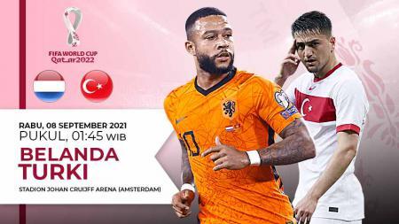 Berikut link live streaming pertandingan kualifikasi Piala Dunia 2022 yang mempertemukan Belanda vs Turki. - INDOSPORT