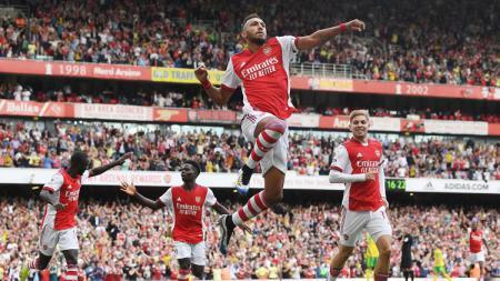 Pierre Emerick Aubameyang merayakan gol di laga Arsenal vs Norwich di Liga Inggris, Sabtu (11/09/21) malam WIB. - INDOSPORT