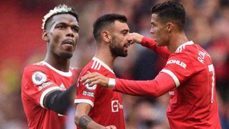 Paul Pogba, Bruno Fernandes, dan Cristiano Ronaldo - INDOSPORT