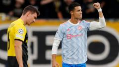 Indosport - Selebrasi gol Cristiano Ronaldo di laga Young Boys vs Manchester United.
