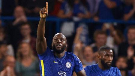 Selebrasi gol Romelu Lukaku di laga Liga Champions Chelsea vs Zenit St Petersburg. - INDOSPORT