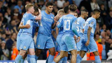 Manchester City vs RB Leipzig di Liga Champions. - INDOSPORT