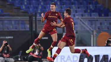 Selebrasi gol Stephan El Shaarawy di laga UEFA Conference League AS Roma vs CSKA Sofia.