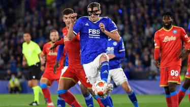 Situasi laga Leicester City vs Napoli di Liga Europa.