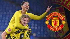 Indosport - Jude Bellingham, Erling Haaland melakukan selebrasi dan logo Man United