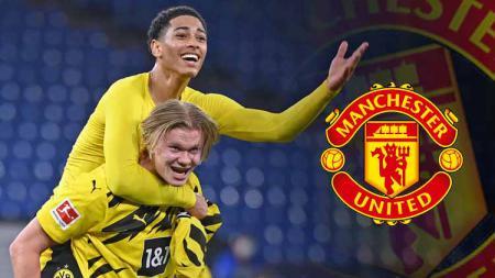 Jude Bellingham, Erling Haaland melakukan selebrasi dan logo Man United - INDOSPORT