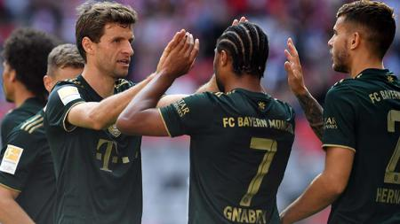 Selebrasi gol Serge Gnabry di laga Bayern Munchen vs Bochum dalam lanjutan Bundesliga Jerman. - INDOSPORT