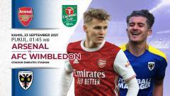Indosport - Berikut prediksi pertandingan Carabao Cup 2021/22 putaran ketiga antara Arsenal vs AFC Wimbledon, Kamis (23/09/21) pukul 01.45 WIB di Emirates.