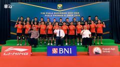 Indosport - Tim Indonesia di Piala Sudirman 2021.