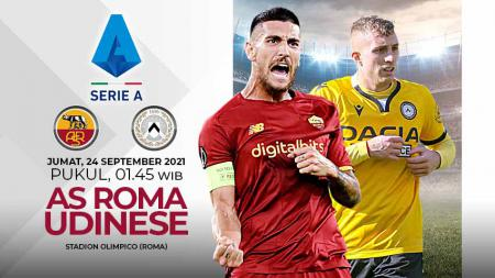 Berikut link live streaming pertandingan Liga Italia 2021-2022 pekan kelima antara AS Roma vs Udinese pada Jumat (24/9/21) pukul 01:45 WIB. - INDOSPORT