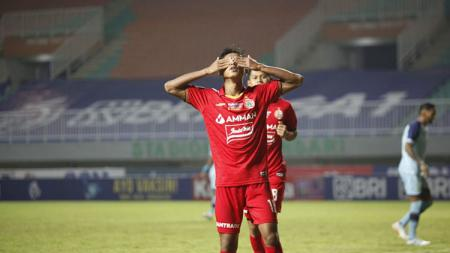 Selebrasi gol Alfriyanto Nico di laga Liga 1 Persija Jakarta vs Persela Lamongan. - INDOSPORT