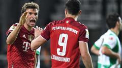 Indosport - Selebrasi gol Thomas Muller di laga Greuther Furth vs Bayern Munchen.