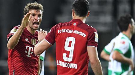 Selebrasi gol Thomas Muller di laga Greuther Furth vs Bayern Munchen. - INDOSPORT
