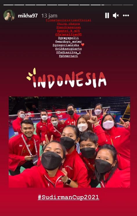 Mikha Angelo dukung tim bulutangkis Indonesia di Piala Sudirman 2021. Copyright: Instagram/Mikha Angelo